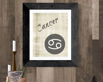 Cancer Zodiac Art, Cancer Astrology Symbol, Cancer DIY Printable Poster, Cancer Wall Hanging, Gray Cancer Poster, Cancer Horoscope Art Work