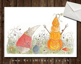 Whimsical Halloween Animal and Pumpkin Greetings Card - Mr Kindley's Halloween