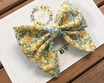 Yellow Floral Sailor Bow, Sailor Bow, Cotton Bow