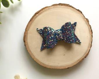 Blue Glitter Bow, Iridescent Glitter Bow, Glitter Bow