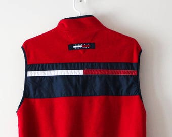 50% CLEARANCE SALE Tommy Hilfiger Vintage Red Fleece Vest. Sz L. 1990s