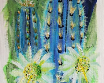 Tropical Cacti | original painting | acrylic on canvas | flower art | flower painting | wall art |