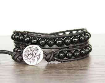 Black Onyx Wrap Bracelet • Black Beaded Wrap Bracelet • Double Wrap Leather Bracelet • Boho Wrap Bracelet • Black Onyx Bracelet • 2XBO006