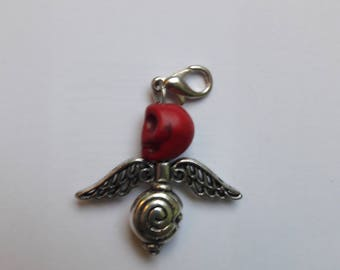 Key pendant skull Red