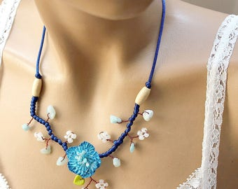 Blue porcelain necklace cold flower branch beads