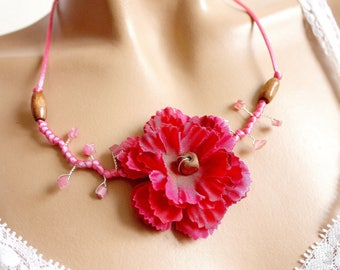 Pink Carnation Flower necklace