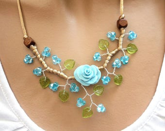 Flower necklace blue green and Brown