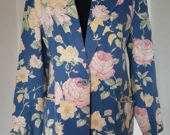 Vintage 80s 90s Womens Size Large Pastel Floral Botanical Garden Print Blazer Jacket