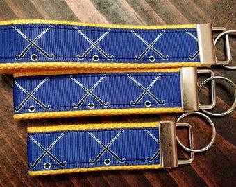 Key fob, keychain, key chain, wristlet, split ring, trendy, keys, lanyard, sports, field hockey, athlete red yellow blue grosgrain ribbon