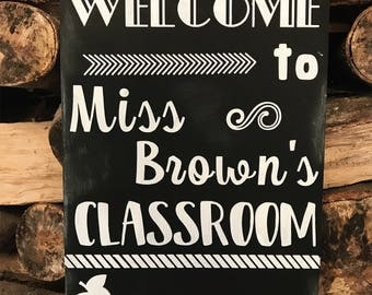 Personalised teachers welcome wooden chalkboard sign plaque