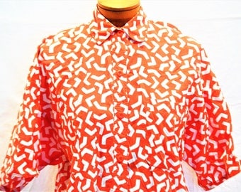Chaus Vintage 80's Top In Red And White Geo Patterned Design Size Small Women's Clothing ChooseFlavor