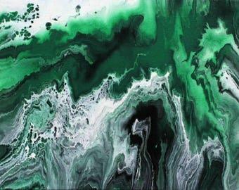 Acrylic Fluid Painting Print: Chrysocolla