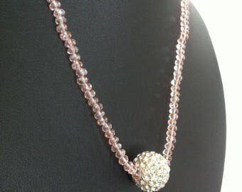 Pink Beaded Crystal Cluster Costume Jewellery Fashion Statement Necklace