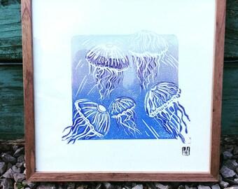 Jellyfish rising - original framed linocut print
