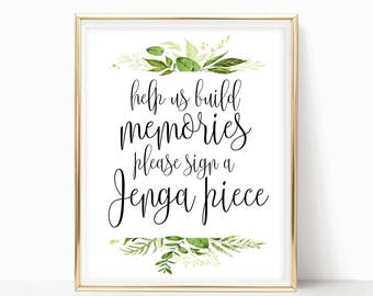 Guestbook Sign Help Us Build Memories Please Sign Jenga Piece Jenga Sign Watercolor Greenery Decor INSTANT DOWNLOAD 4x6, 5x7, 8x10 PDF Print