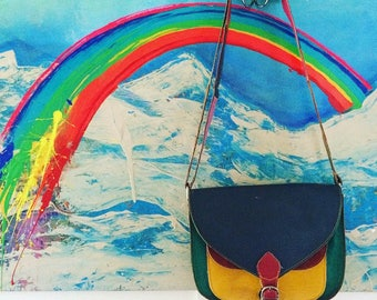 Cute colourful vintage leather bag