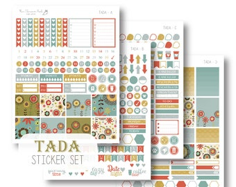 EC Tada Planner Stickers, Sticker Kit, Weekly, EC Vertical Planner Stickers, Monthly Sticker Set by The Clever Owl Paper Co.