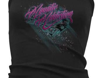 Aquatic Addiction NEON BUBBLES (strap tank) ladies scuba dive shirt, dive shirt