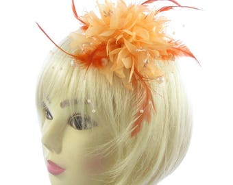 Peach and orange small fascinator with clip, weddings, races, ladies day