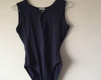 Laura Ashley's Navy Blue Retro Bodysuit