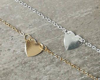 Heart anklet, Silver Heart Anklet, Gold Heart Anklet, Dainty Anklet, Delicate Anklet, Heart Charm Anklet, Charm Anklet, Beach Anklet,  Boho