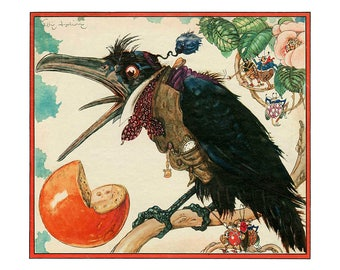 Poster - Félix Lorioux - Fables of La Fontaine - the Raven and Fox - fine art gallery