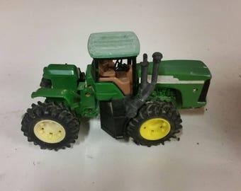 Green John Deere Tractor and Trailer