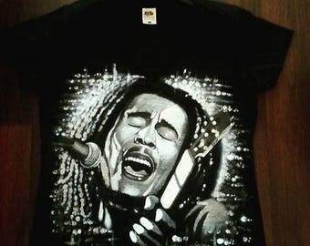 Portrait of Bob Marley (acrylic) on t-shirt