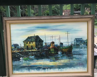 Large Vintage RARE Signed A. Simpson Oil Painting Boat Nautical Dock Fishing Framed