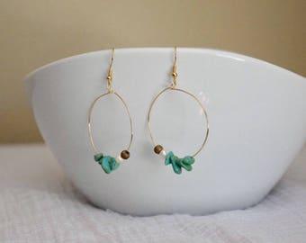 Dangle loop pearl and turquoise earrings