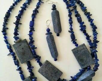 Lapis Lazily, Blue Coral necklace  with matching earrings.