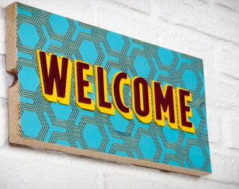 Recycled wood - Welcome - poster