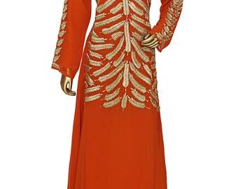 Orange V Neck Long Sleeve Embroidered Chiffon Kaftan/Gown
