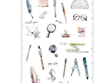 Pretty Stationar Stickers, Scrapbooking, Journal Sticker, Diary, Decoration, Planner Sticker Sheet