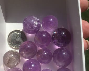 Amethyst Crystal Spheres 14-17mm, Polished Crystals and Natural Mineral Specimens