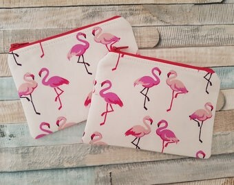 Notions Pouch - Notions Bag - Knitting - Crochet - Make-up Bag - Coin Purse - Pink Flamingos