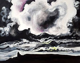 White and black sky - Print from original painting, Home decor, Print, Fine arts