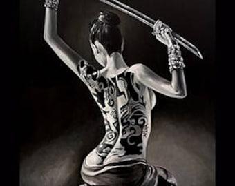 Woman with katana and tattoo , original painting, living room, bedroom