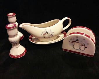 5 Piece Snowman Snowflakes Stoneware Ceramic Christmas Dinner Dish Service Table Accessory Set by Royal Seasons