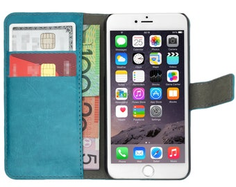 Aqua Premium Leather Flip Case Card Wallet and Stand Magnetic Cover for Apple iPhone 5, 5s, SE, 5c 6, 6s, 6 Plus, 6s Plus, 7, 7 Plus