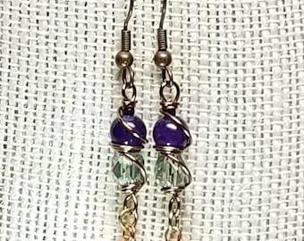 Amethyst and Carnelian Drop Earrings