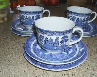 Johnson Brothers Staffordshire England Blue Willow Pattern Three Dessert Plates Three Cups Three Saucers Circa 1970s Porcelain Dinnerware