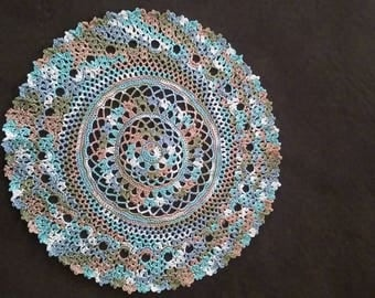 Aspen Leaves Colored Doily...Handmade...Size Medium...Great for Fall or Autumn Decorating