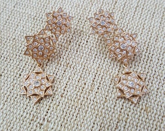 Gold Plated Earring With White Micro Zirconia