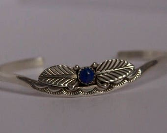 Vintage Sterling Silver With Lapis Stone Cuff Bracelet