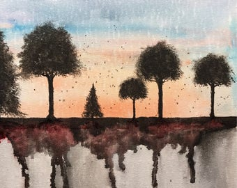 Original watercolor, nature, trees, 9x12 made on panel board