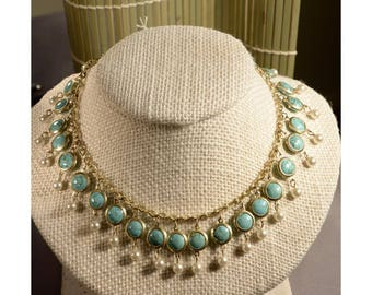 Cleopatra Style Faux Pearl and Turquoise Necklace