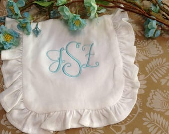 Organic Cotton Ruffle Burp Cloth with Monogram Embroidery
