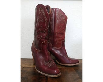 Zodiac Stacked Heel Cowboy Boots