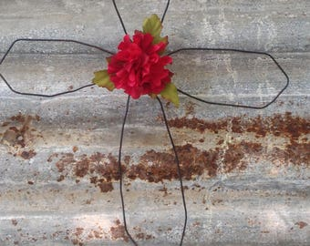 Handmade Cross with red accent flower